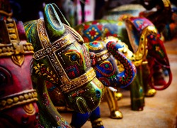 Colorful handicrafts of toy animals