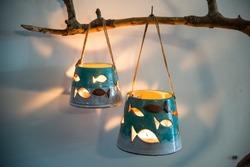 colorful handmade ceramic candle holder