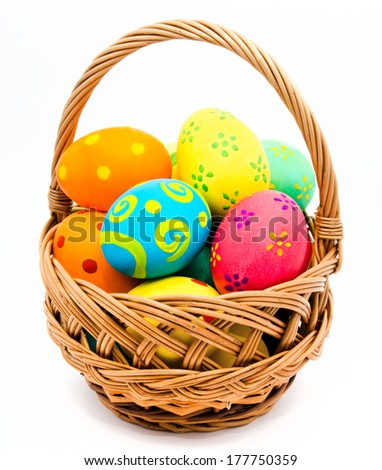 Stock Photo Colorful handmade easter eggs in the basket isolated on a white background