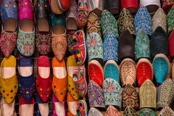 Colorful, handmade, leather Moroccan shoes for sale in Marrakech, Morocco