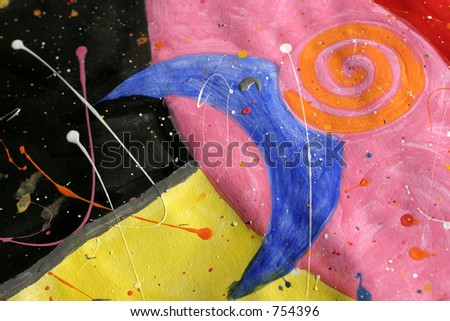 Colorful handpainted image with splashes, called \'Over the Moon\'