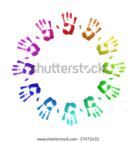 Colorful handprints, on white, of human hands in circle.