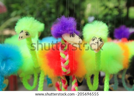 Colorful hanging fluffy ostrich toy