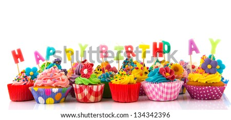 Happy Birthday Cupcake with Candles Delicious stock-photo-colorful