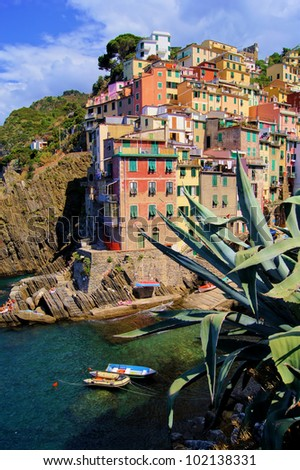 Colorful harbor at Riomaggiore, Cinque Terre, Italy