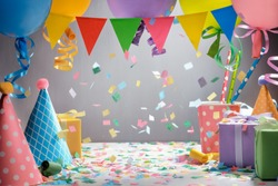 Colorful hats,flag garland,balloons and gift boxes for celebration