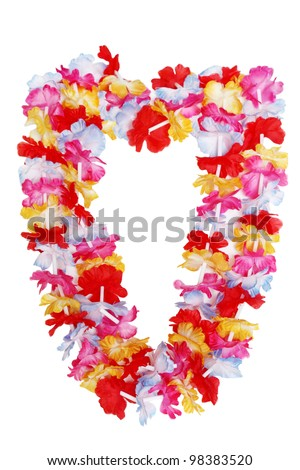 Colorful Hawaiian lei flower isolated on white background