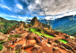 Colorful HDR image of Machu Picchu, Peru, South America - the lost city of the Inca