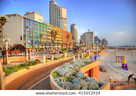 Colorful HDR image of Tel Aviv beach with some of its famous hotels (Mediterranean sea. Israel)