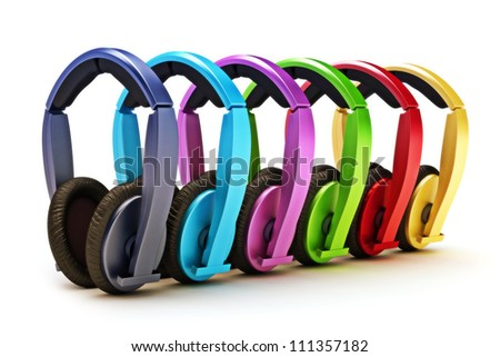 Colorful headphones on a white background