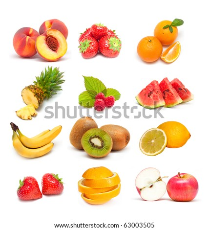colorful healthy fruit collage  stock photo