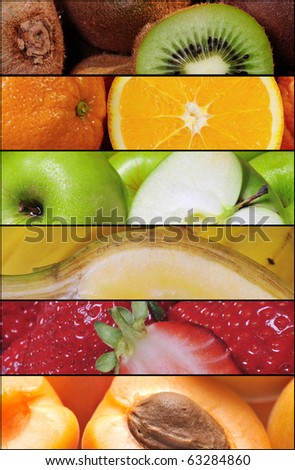 colorful healthy fruit collage