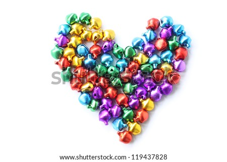 Colorful heart,Colorful bell  on white background