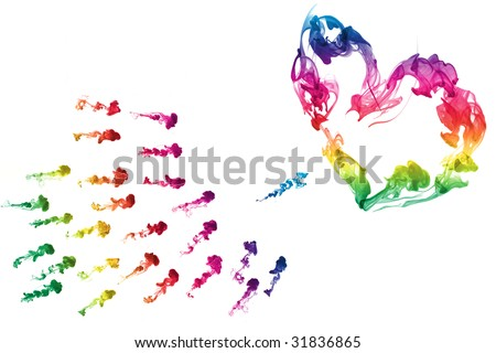 colorful heart ink. abstract