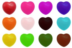colorful heart isolated on white background. The collection of hearts contains red, pink, purple, blue, yellow, orange, green, black, brown color.