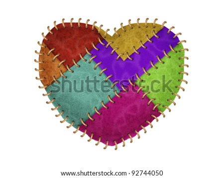 Colorful heart made from leather with stitched on white background