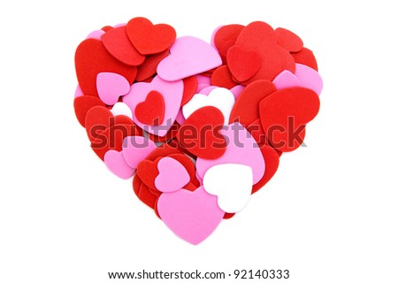 Colorful heart made of Valentines Day heart-shaped confetti