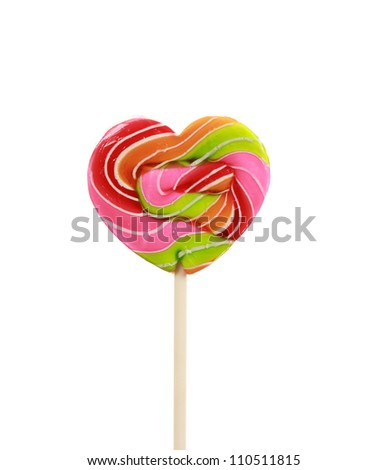 Colorful Heart shape lollipop isolated on white background