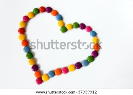 Colorful hearts made from sweets - stock photo