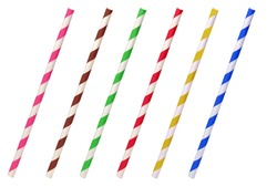 Colorful helical or striped paper straws isolated on white background including clipping path.