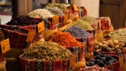 Colorful Herbal and Spices Oriental marketplace
