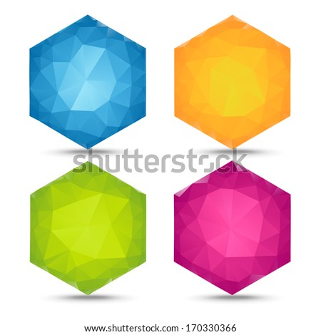 colorful hexagons banners  - stock photo