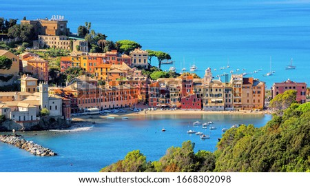 Colorful historical Old town of Sestri Levante, Italy, a picturesque popular resort town in Liguria Stock photo ©