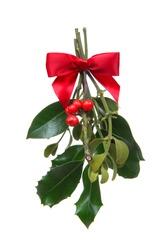 Colorful holiday Christmas mistletoe isolated over white background