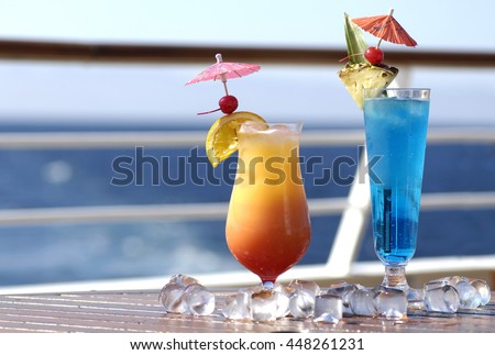 Colorful holiday cocktails on cruise ship