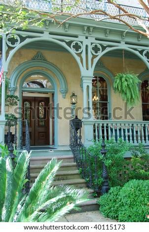 Colorful home entrance in Savannah Georgia - stock photo