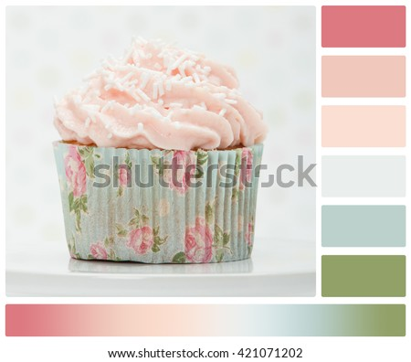 Colorful Homemade Cupcake On White Stand. Copy Space. Palette With Complimentary Colour Swatches