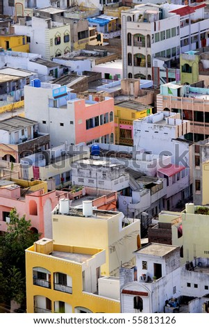 Colorful homes in crowded Indian city Vijayawada
