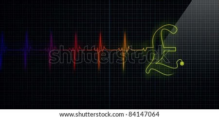 Colorful Horizontal Pulse Trace Heart Monitor with a Pound symbol in line.