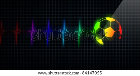Colorful Horizontal Pulse Trace Heart Monitor with a soccer ball in line. Concept for sports medicine, soccer players, or die-hard soccer fans. - stock photo