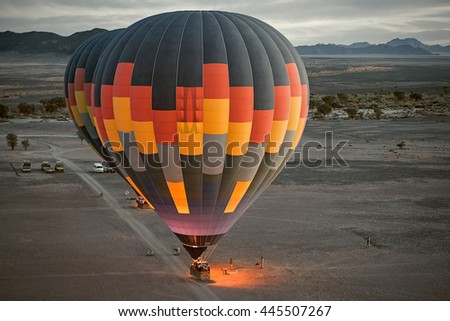 Colorful hot air ballon ready to fly. Close up. (Namibia, South Africa)
