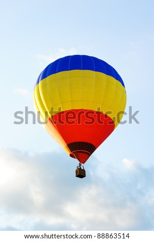 colorful hot air balloon against a white background