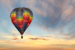 Colorful Hot Air Balloon in the Sunrise Sky