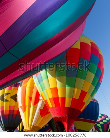 Colorful hot air balloon interior
