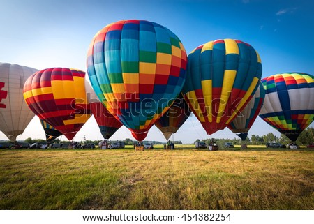 Colorful Hot air balloon is starting to fly