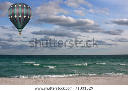 Colorful Hot Air Balloon over the Gulf of Mexico