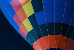 colorful Hot air balloon ready for take off in sky in night. Freedom concept.