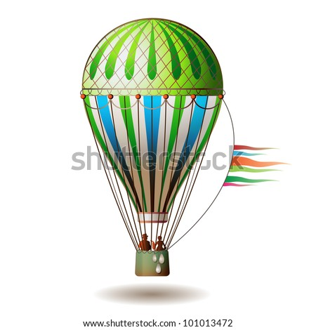 Colorful hot air balloon with silhouettes - stock photo