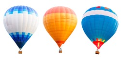 Colorful hot air balloons, Isolated over white