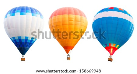 Colorful hot air balloons Isolated over white