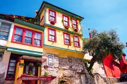 Colorful House in Kavala Old Town, Northern Greece