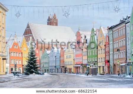 Colorful house line in old bavarian town near Munich in winter