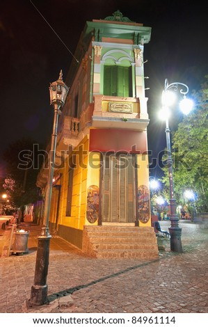 Colorful houses at night on Caminito street in La Boca, Buenos Aires