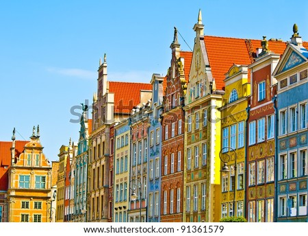 Colorful houses - Colorful houses - tenements in old town Gdansk, Poland - stock photo