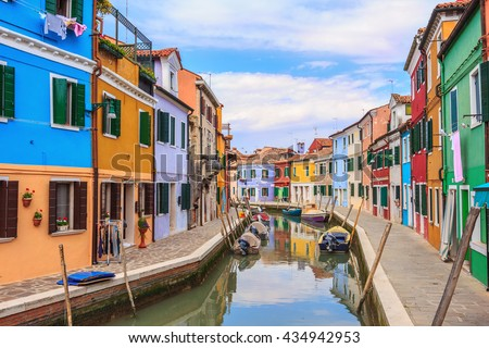 Colorful Houses in Burano island, Italy #434942953
