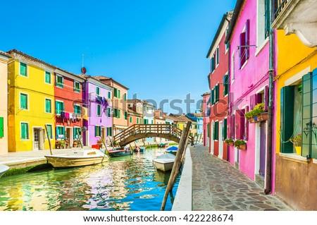 Stock Photo Colorful houses in Burano island near Venice, Italy